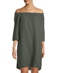 Allen Allen Off The Shoulder 3 4 Sleeve Linen Dress Green