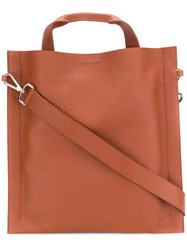 Orciani Square Tote Leather Brown