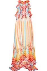 Temperley London Nymph Printed Silk Chiffon Halterneck Gown Red