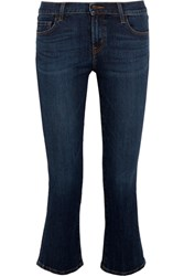 J Brand Selena Cropped Mid Rise Bootcut Jeans Mid Denim