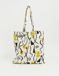 Monki Abstract Face Print Organic Cotton Tote Bag In Off White Beige