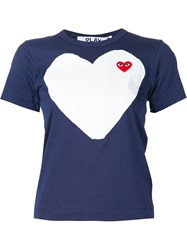 Comme Des Gara Ons Play Heart Print And Application T Shirt Blue
