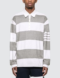Thom Browne Oversized Rugby Polo Shirt Grey