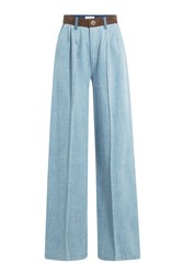 Sonia Rykiel Wide Leg Jeans With Suede Waistband Blue