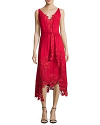 Kobi Halperin Sleeveless Silk Lace Trim Midi Dress Crimson