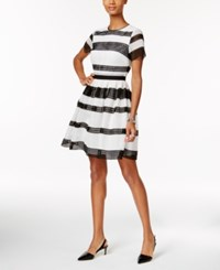 Michael Kors Laser Cutout Fit And Flare Dress Black