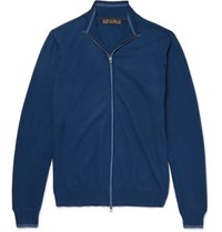 Loro Piana Contrast Tipped Cashmere Zip Up Sweater Blue