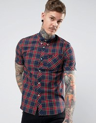 Fred Perry Reissues Short Sleeve Plaid Shirt In Navy Navy