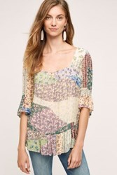 Floreat Patchwork Peasant Top Green Motif