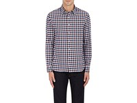 Barneys New York Men's Checked Cotton Shirt Light Grey