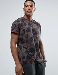 Religion T Shirt With All Over Camoflauge Print Khaki Green