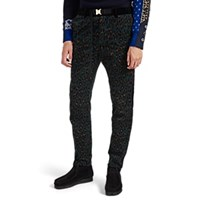 Sacai Leopard Print Corduroy Jogger Trousers Turquoise