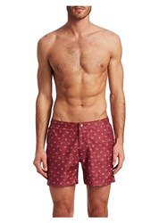 Saks Fifth Avenue Modern Dot Paisley Swim Shorts Red White