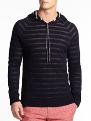 Slowear Striped Wool Cotton Hooded Sweater Dark Navy