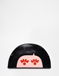 The Whitepepper The White Pepper Face Clutch Bag With Black Hair Blackandpink