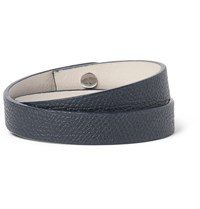 Valextra Pebble Grain Leather Wrap Bracelet Navy