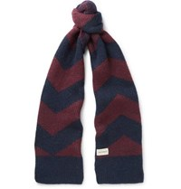 Oliver Spencer Selby Colour Block Wool Blend Scarf Burgundy