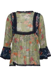 Love Sam Lace Trimmed Floral Print Chiffon Blouse Sage Green