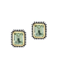 Effy 925 Green Amethyst Sterling Silver And 18K Yellow Gold Stud Earrings Emerald