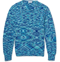 Faconnable Chunky Knit Cotton Sweater Blue