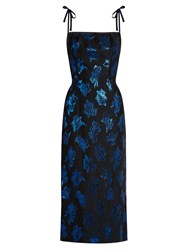 The Vampire's Wife Night Garden Floral Fil Coupe Midi Dress Black Blue