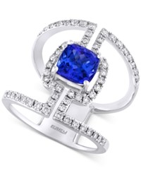Effy Collection Tanzanite Royale By Effy Tanzanite 1 5 8 Ct. T.W. And Diamond 3 4 Ct. T.W. Statement Ring In 14K White Gold