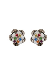 Miu Miu Metal Earrings With Stones White