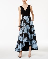 Xscape Evenings Illusion Inset Floral Print High Low Gown Black Light Blue