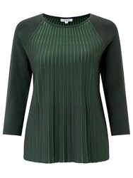Jigsaw Contrast Pleat Top Green