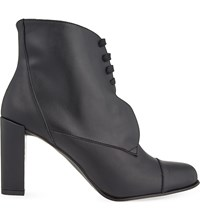 Karen Millen Laced Leather Heeled Boots Black
