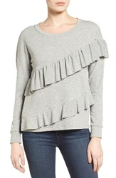 Pleione Women's French Terry Ruffle Sweatshirt Heather Grey