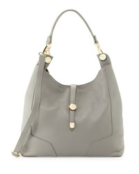 Neiman Marcus Framed Leather Hobo Bag Gray