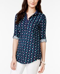 Tommy Hilfiger Printed Roll Tab Sleeve Tunic