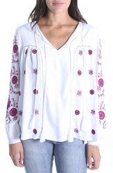 Kut From The Kloth Prairie Embroidered Top White Pink