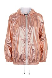 Topshop Metallic Hooded Windbreaker Jacket Gold
