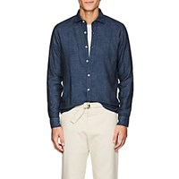 Barneys New York Double Faced Cotton Voile Shirt Navy