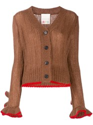 Marco De Vincenzo Ruffle Sleeve Button Blazer Brown