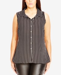 City Chic Plus Size Sleeveless Striped High Low Shirt Black