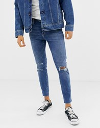 Bershka Join Life Slim Fit Jeans In Mid Blue Mid Blue
