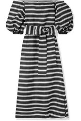 1fc9a6768f Lisa Marie Fernandez Rosie Off The Shoulder Striped Satin Twill Maxi Dress  Black