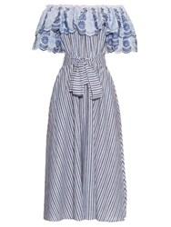 Gul Hurgel Off The Shoulder Ruffle Trimmed Striped Midi Dress Blue Multi