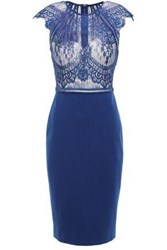 Catherine Deane Woman Chantilly Lace And Ponte Dress Royal Blue