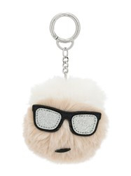 Karl Lagerfeld Iconic Furry Keychain White