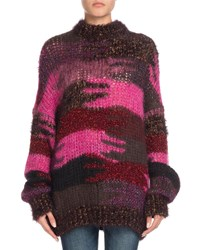 Saint Laurent Crewneck Camo Patchwork Mohair Blend Sweater Red Pattern