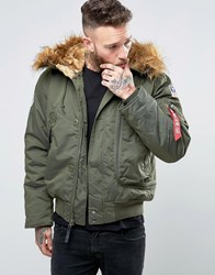 Alpha Industries Bomber Jacket With Faux Fur Trim In Regular Fit Dark Green Gr1 Green 1