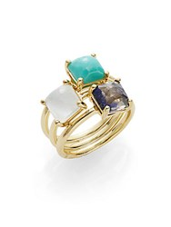 Ippolita Rock Candy Clear Quartz Mother Of Pearl Doublet Turquoise Iolite And 18K Yellow Gold Ring