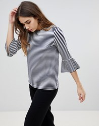 Soaked In Luxury Stripe Top With Fluted Sleeves Blue