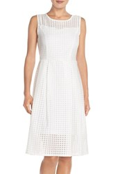 Women's Ellen Tracy Windowpane Organza Fit And Flare Dress White