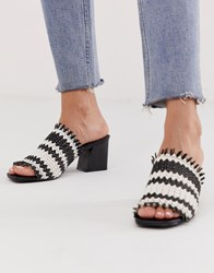 Miss Selfridge Woven Heeled Mules In Mono Black