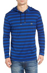 Lacoste Men's Stripe Long Sleeve Hooded T Shirt Steamer Cosmos